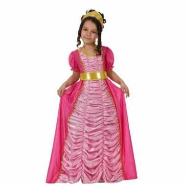 Lange roze prinsessen jurk voor kinderen
