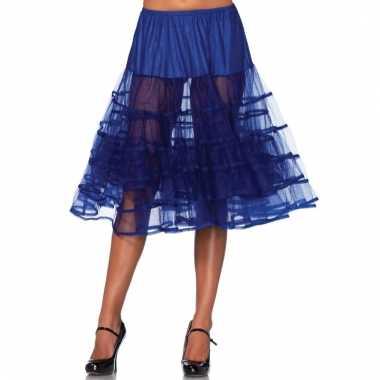 Lange tule onderrok kobalt blauw voor dames