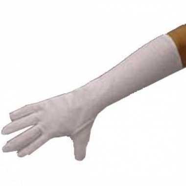Lange witte handschoenen polyester