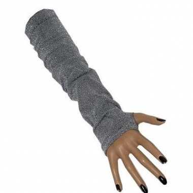Lange zilveren gala handschoenen