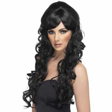 Lange zwarte krullen pruik voor dames