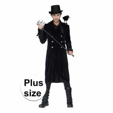 Lange zwarte mantel met gesp heren