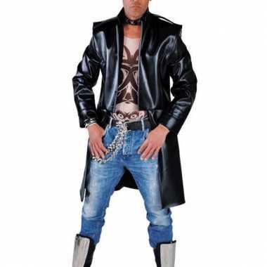 Lange zwarte matrix jas