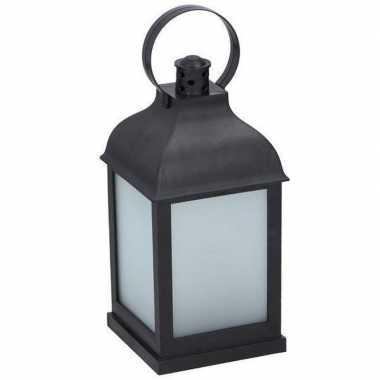Lantaarn zwart met led en frosted glas