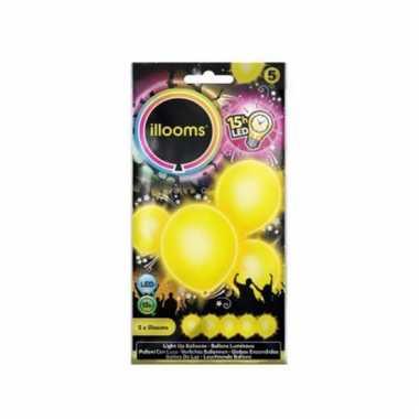 Led ballon geel 23 cm 5 stuks