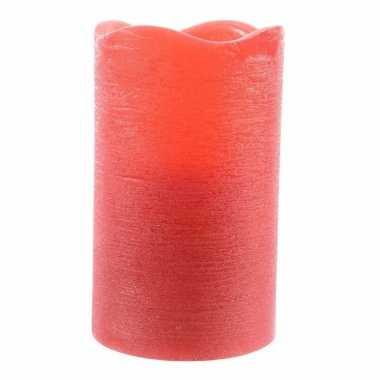 Led sfeerlicht waskaars rood 12,5 cm