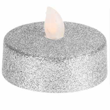 Led zilveren waxinelichtjes 2 stuks extra groot