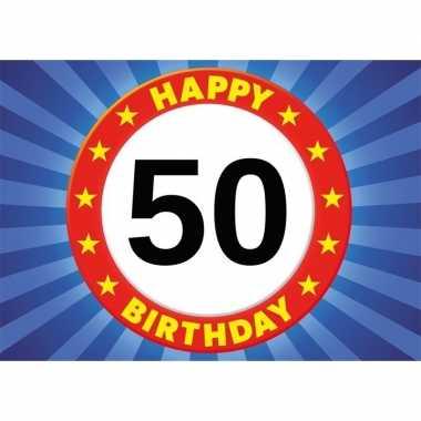 Leeftijd sticker 50e verjaardag 50 jaar stopbord 7 x 10 cm verjaardag