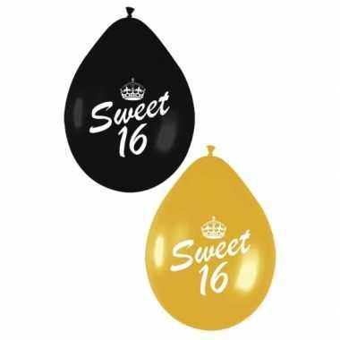 Leeftijd versiering 16 jaar ballonnen zwart/goud