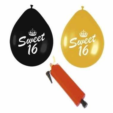 Leeftijd versiering pakket 16 jaar ballonnen zwart/goud inclusief pom