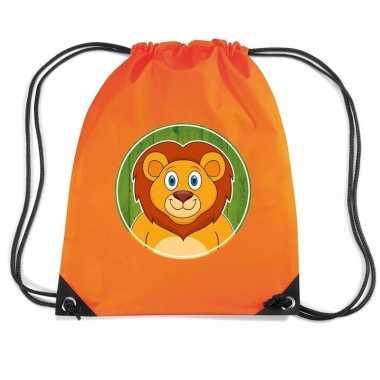 Leeuw dieren trekkoord rugzak / gymtas oranje voor kinderen