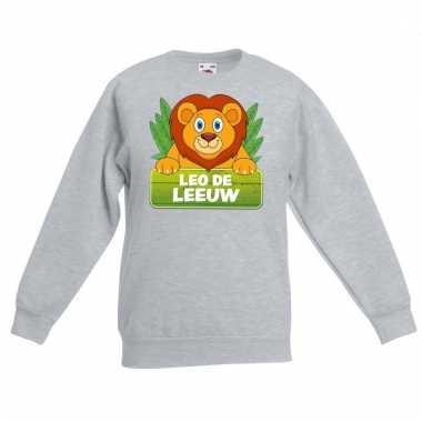 Leeuwen dieren sweater grijs voor kinderen