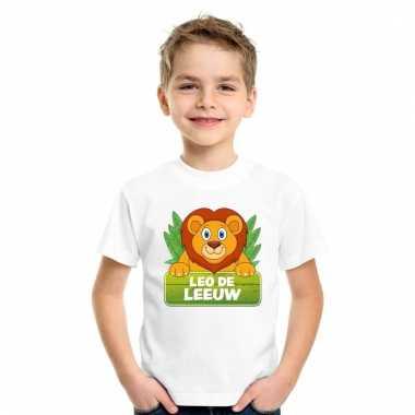 Leeuwen dieren t-shirt wit voor kinderen