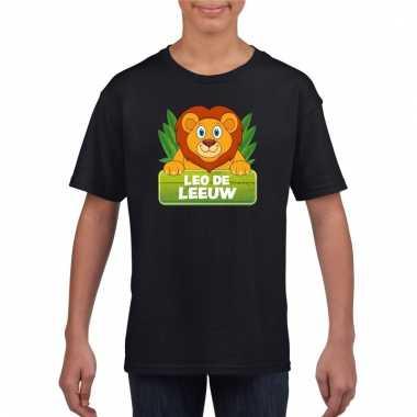 Leeuwen dieren t-shirt zwart voor kinderen