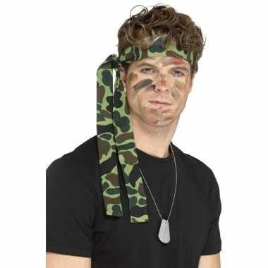 Leger verkleed accessoires ketting en hoofdband
