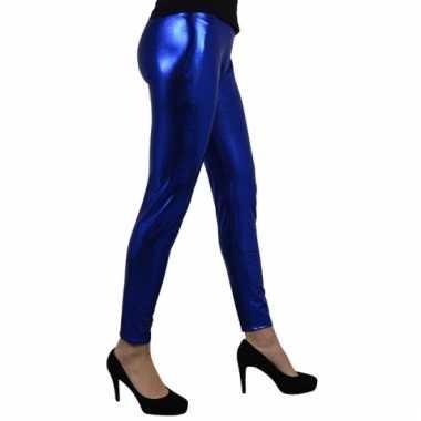 Legging in het metallic blauw