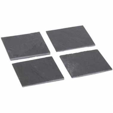 Leisteen onderzetters 12 stuks 10 cm