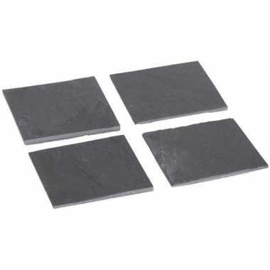 Leisteen onderzetters 4 stuks 10 cm