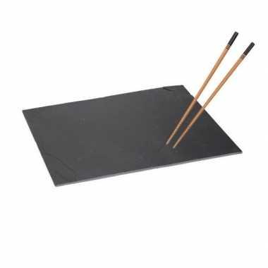 Leisteen sushibord 30 cm met 4 eetstokjes zwart