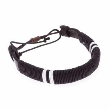 Leren indianen armbandje zwart 7 cm