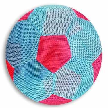 Licht blauw met roze mesh speelgoed bal voor kinderen 23 cm