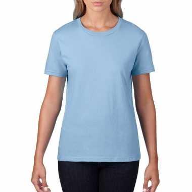 Licht blauwe dames casual t-shirts met ronde hals