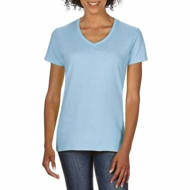 Licht blauwe dames casual t-shirts met v-hals