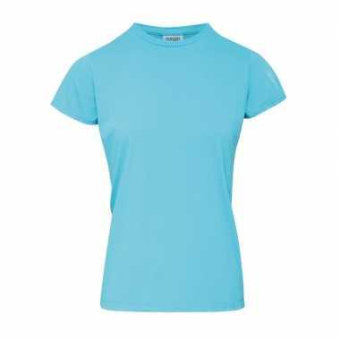Licht blauwe dames t-shirts met ronde hals