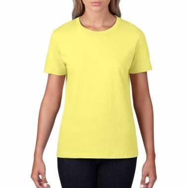 Licht gele dames casual t-shirts met ronde hals