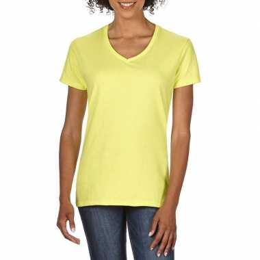 Licht gele dames casual t-shirts met v-hals