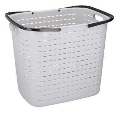 Licht grijze hoge kunststof wasgoed mand 45 liter