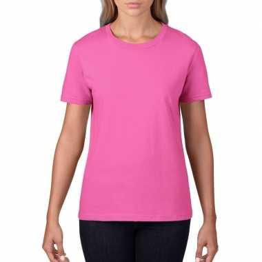 Licht roze dames casual t-shirts met ronde hals