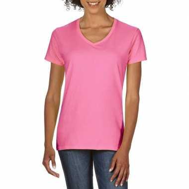 Licht roze dames casual t-shirts met v-hals