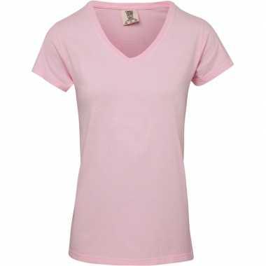 Licht roze dames t-shirts met v-hals