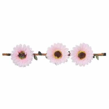 Licht roze madeliefjes festival/hippie hoofdband voor dames