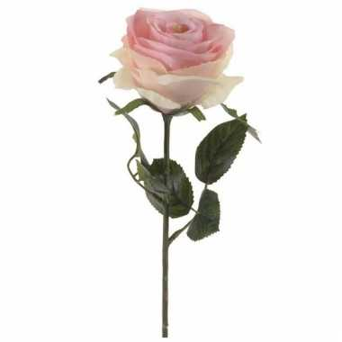 Licht roze roosjes kunst tak 45 cm
