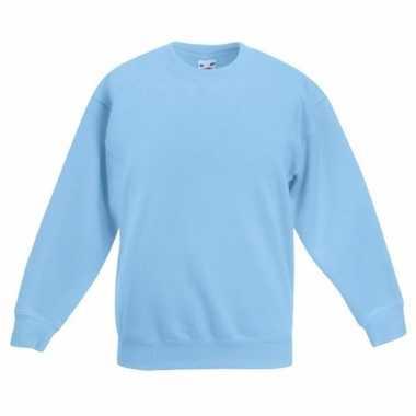 Lichtblauw katoenen sweater zonder capuchon voor meisjes