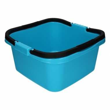 Lichtblauwe afwasteil / emmer met handvat 13 liter