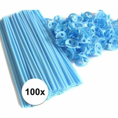 Lichtblauwe ballonstokjes 100 stuks
