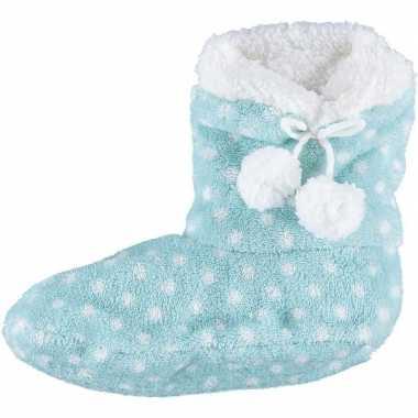 Lichtblauwe hoge sloffen/pantoffels stippen voor meisjes maat 34-36