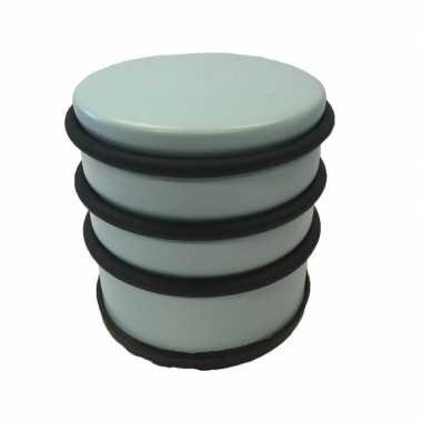 Lichtblauwe ronde deurstopper met rubberen bescherming 7 x 7.5 cm