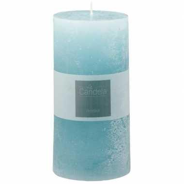 Lichtblauwe sfeerkaars/stompkaars 14 cm
