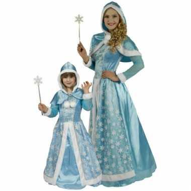Lichtblauwe sneeuw koninginnen jurkje dames
