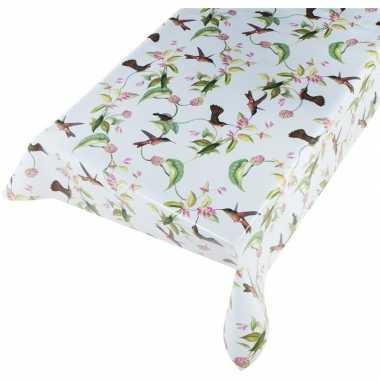 Lichtblauwe tafelkleden/tafelzeilen kolibries vogels print 140 x 240