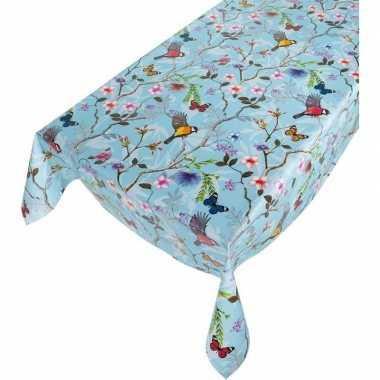 Lichtblauwe tafelkleden/tafelzeilen vogeltjes/vlindertjes print 140 x