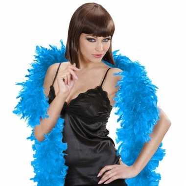 Lichtblauwe veren boa 180 cm