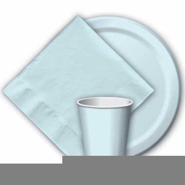 Lichtblauwe wegwerp borden 8 stuks