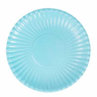 Lichtblauwe wegwerp bordjes 23 cm