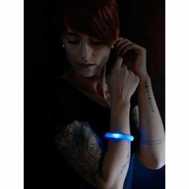 Lichtgevende armband blauw met led lampjes voor volwassenen