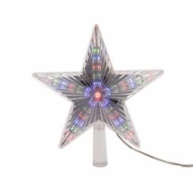 Lichtgevende ster kerstboompiek 22 cm gekleurd